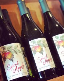 Bottles of spiced apple wine from Huber's