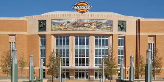 The front of Dickies Arena in Fort Worth, TX