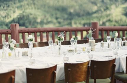 Wedding Reception Table on Lookout Cabin Deck in the Summer