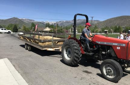 Tractor with Hayride trailer