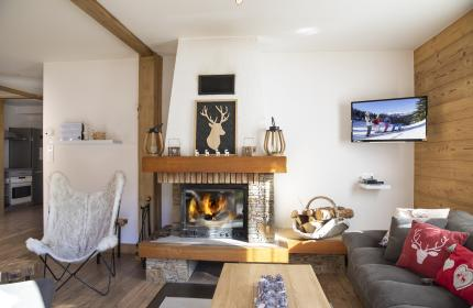 Rental living room with fireplace