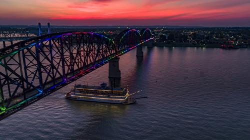 Big Four Bridge and Belle of Louisville At Dusk
