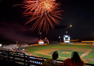 Fireworks at Ripken Stadium in Aberdeen Maryland