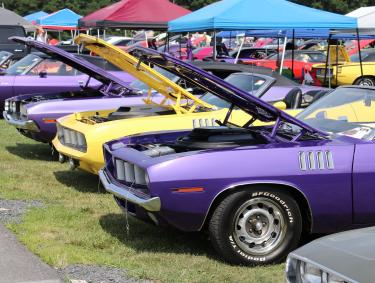 Line of muscle cars with hoods up at the Carlisle Chrysler Nationals