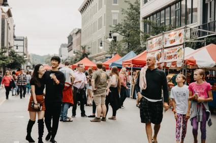 People walking at the Taste