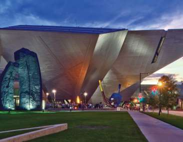 Denver Art Museum Exterior at Night
