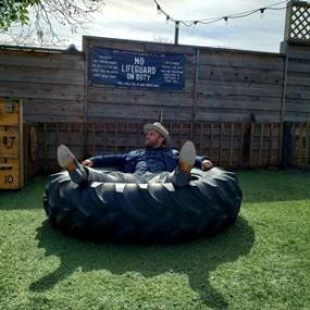 Man in a tire