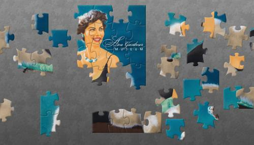 A partially put together Ava Gardner portrait digital jigsaw puzzle