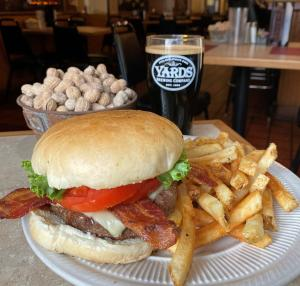 North Hanover Grille The Dickinson Burger with fries and a pint of beer