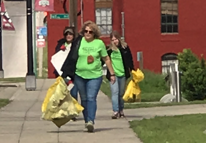 Walking with trash bags
