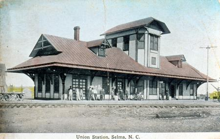 Historic photo showing railroad stop Union Station in Selma, NC.