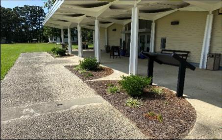 Exterior of porch at Bentonville Battlefield Visitor Center