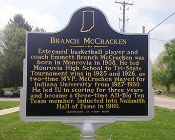 This historical marker near the Monrovia branch of the Morgan County Public Library honors the basketball contributions of Emmett Branch McCracken as both a player and coach.