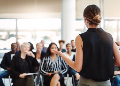 iStock Workshop group woman leader