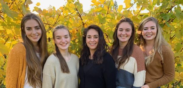 Distaff Winery owner Angelica O'Reilly and her daughters