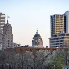 Downtown Fort Wayne Spring Skyline - From Headwaters Park in Fort Wayne, Indiana