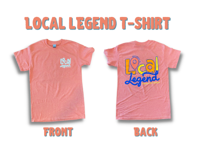 an orange shirt showing the front and back with local legend logo on it