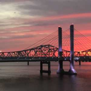 Ohio River's Lincoln and Kennedy Bridges