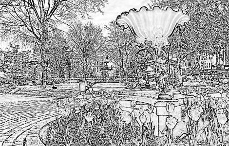 Fountain Square Park Coloring Page
