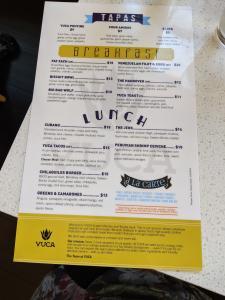 food menu at yuca by cedar in bellevue