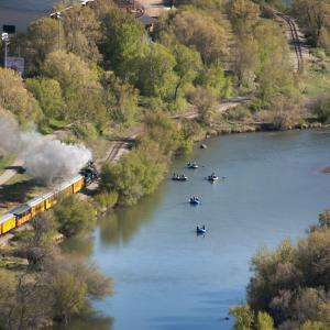 Train by Animas river