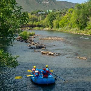 Rafting on the Animas River Near Downtown Durango, CO