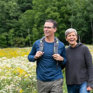 Couple Hiking at Wesley Hill Nature Preserve