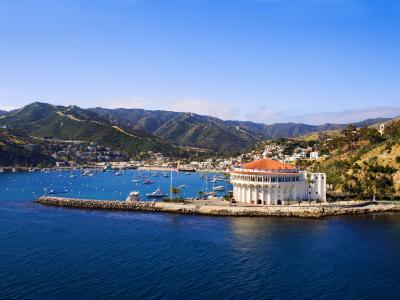 Aerial view of Catalina Casino and Avalon Bay at Catalina Island