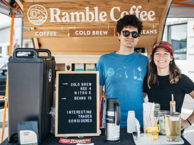 Ramble Coffee owners pose in their mobile set up