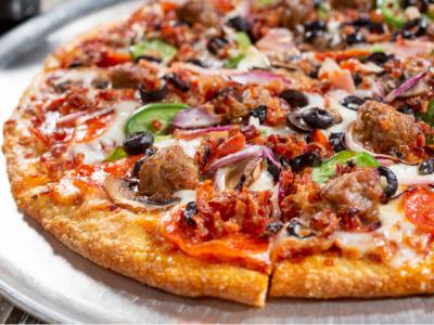 Supreme pizza at Gepetto's Pizza.