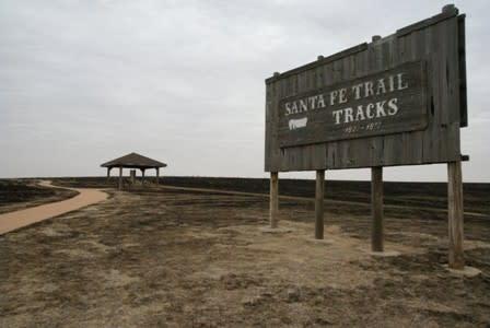 Santa Fe Trail tracks sign