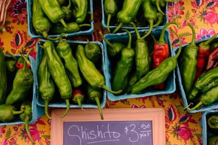Hot peppers for sale at the Clayton Farm & Community Market, Clayton NC.