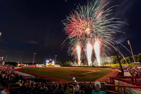 Picture of florence freedom baseball stadium featuring fireworks in background