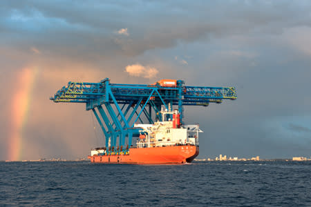 Three new Super Post-Panamax Gantry Cranes arrive at Port Everglades from China.