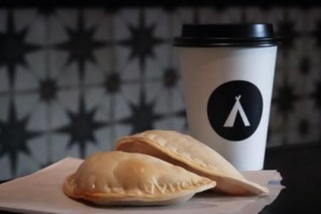 Coffee and empanadas at Nomad PNW in Wilkeson