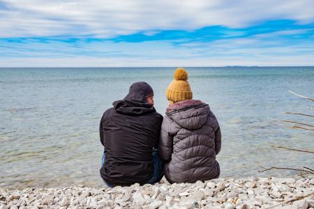 Couple in Winter on water