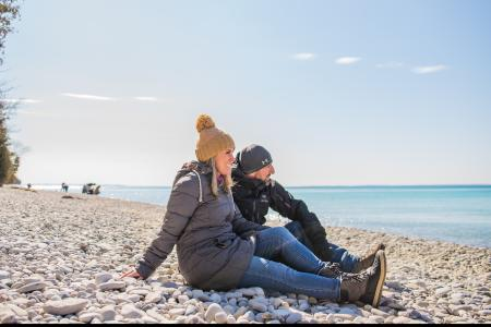 Couple on the beach at Lake Michigan