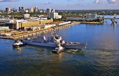 USS Paul Ignatius with city skyline