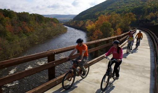 Bikers over Lehigh Gorge Bridge