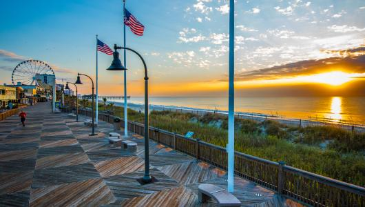Boardwalk Sunrise with Flags