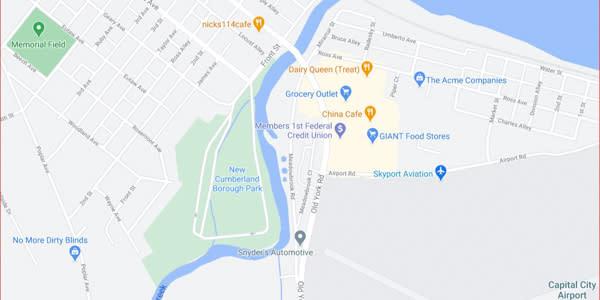New Cumberland Borough Park Fishing Location Map