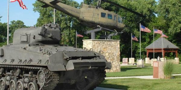 A tank and helicopter at the Emporia Veterans Memorial