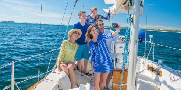 Family photo on sailboat