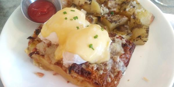 Savory Bread Pudding Benedict at George Artisan