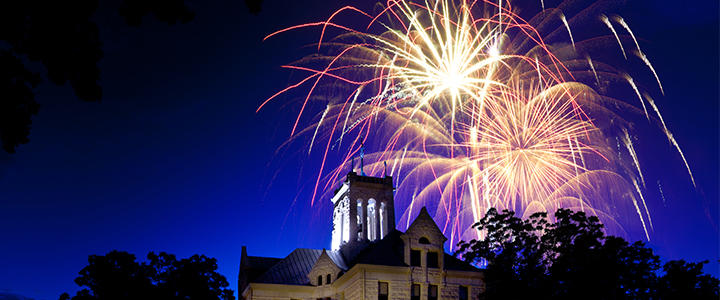 Fireworks over the courthouse