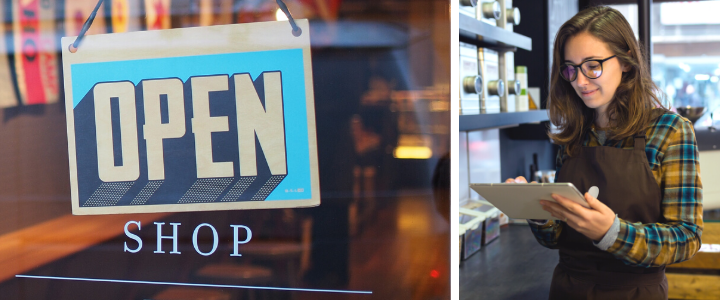 Open shop sign with girl