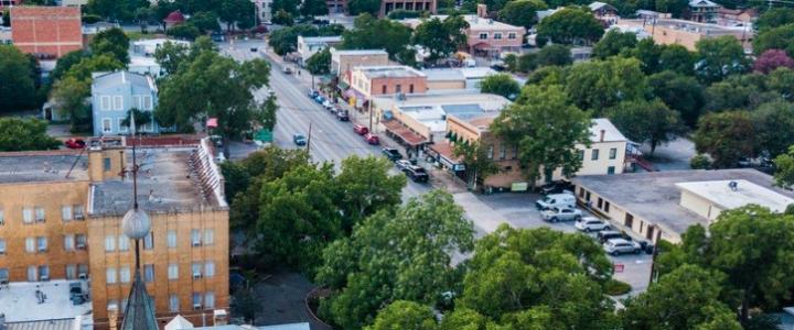 Bird's Eye View of Downtown New Braunfels, Texas