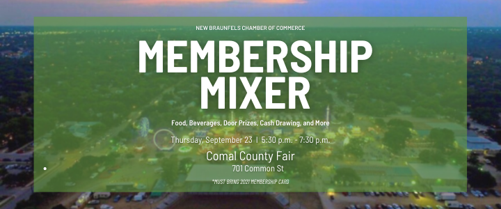 The September 2021 Chamber Mixer will be held at the Comal County Fairgrounds.