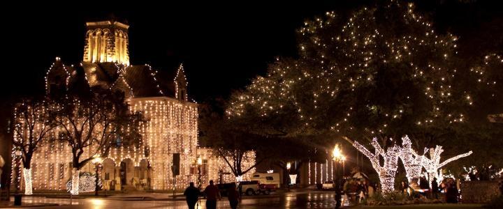 Beautiful Lights in Downtown New Braunfels, Texas