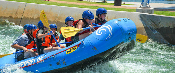 Group on whitewater rapids at RIVERSPORT
